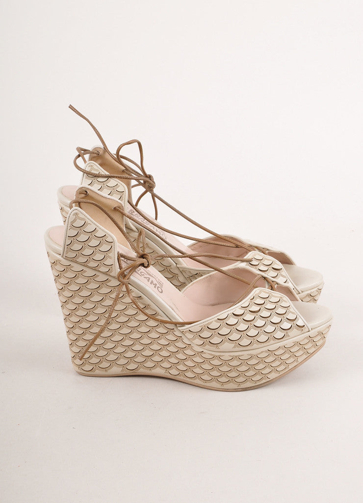 "Grey and Brown Scalloped Print ""Ginestra"" Wedge Sandals"
