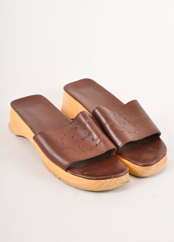 "Brown Hermes Leather Perforated ""H"" Wooden Slide Sandals"