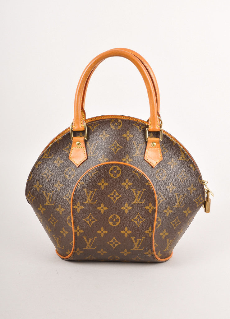 "Brown Monogram Canvas Structured ""Ellipse PM"" Bag"