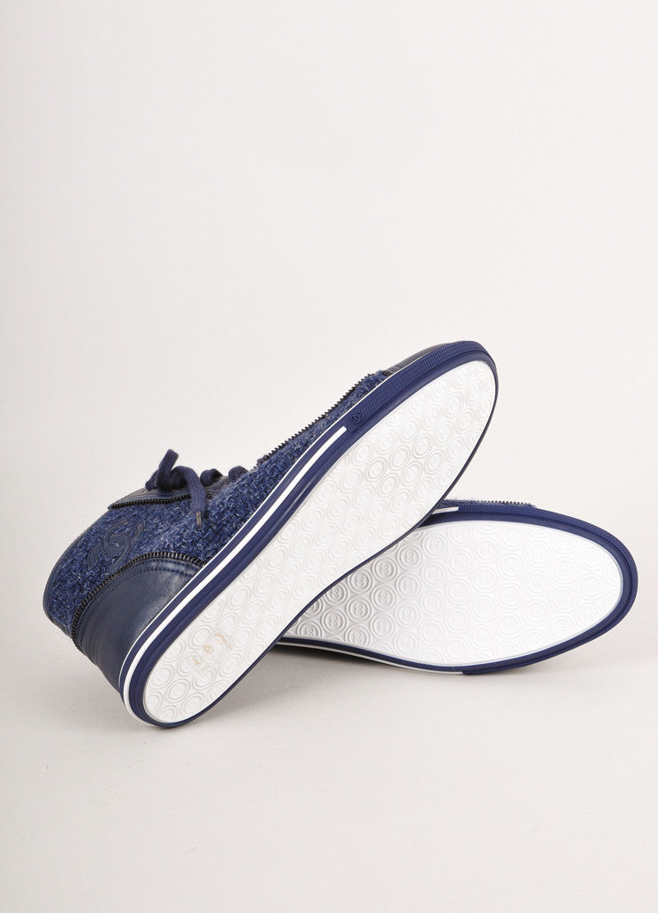 "New In Box Blue and White Tweed ""CC"" Zipper Detail Sneakers"