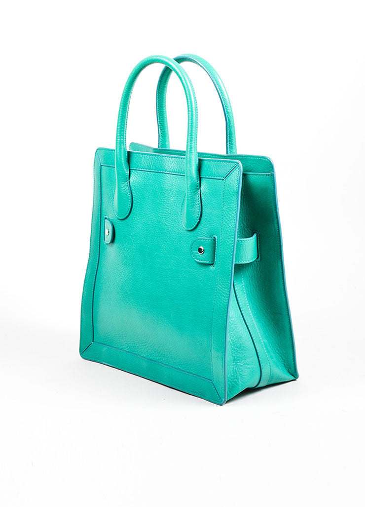 "Kelly Green Proenza Schouler Grain Leather Top Handle ""PS11"" Tote Bag Sideview"