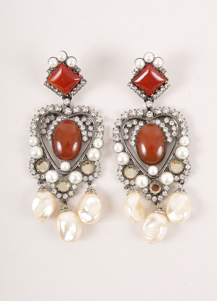 Brown Faux Pearl and Rhinestone Chandelier Earrings