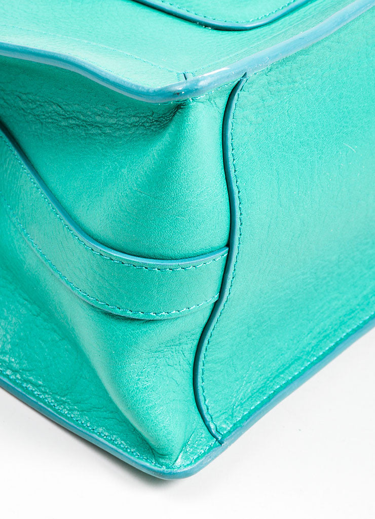 "Kelly Green Proenza Schouler Grain Leather Top Handle ""PS11"" Tote Bag Detail"