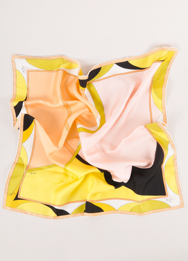 Multicolor Abstract Print Square Silk Scarf