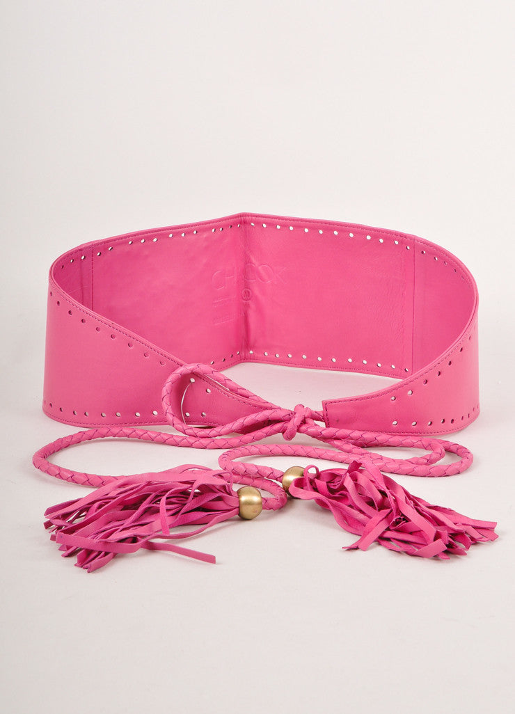 Pink Chacok Leather Floral and Cut Out Embellished Tie Belt With Fringe Details