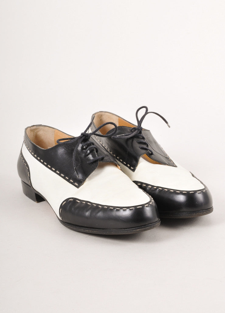Cream and Black Leather Oxfords.