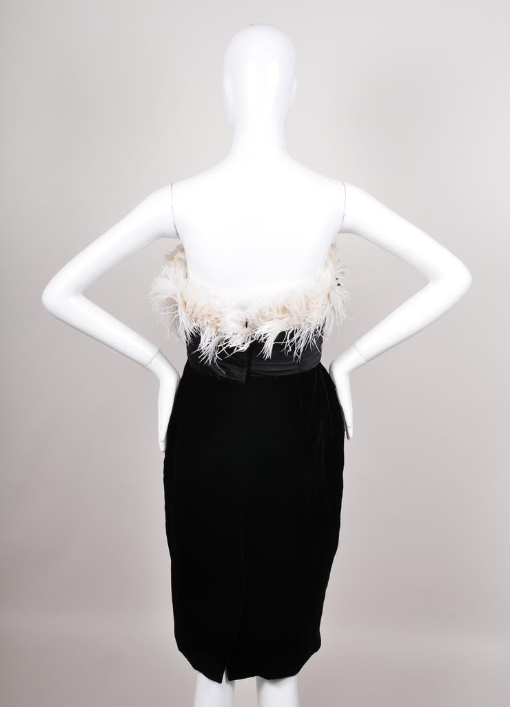 Marchesa Black and White Feather Trim Velvet and Silk Dress