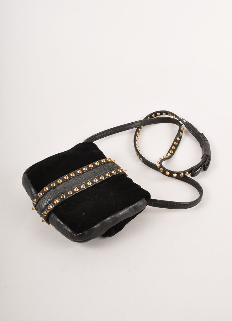 "Black and Gold Toned Studded Velvet and Leather ""Cameron Spike"" Clutch Bag"