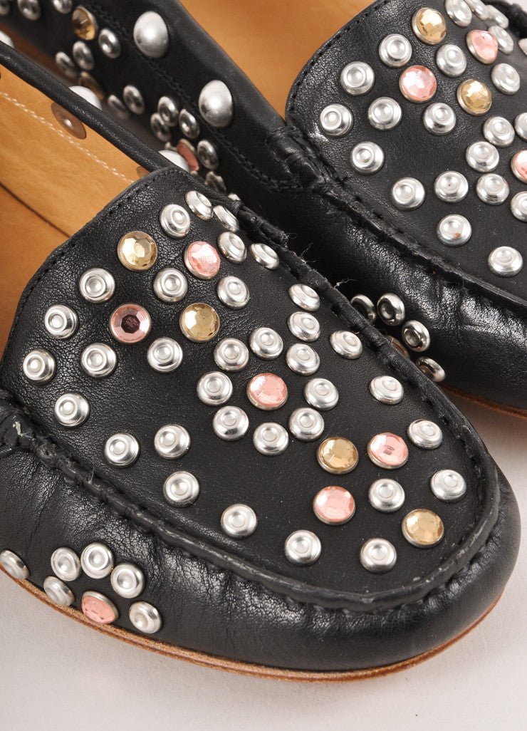 New In Box Black Studded Leather Loafer Flats