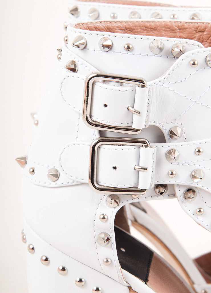 New In Box White and Silver Studded Cut Out Ankle Wrap Heels