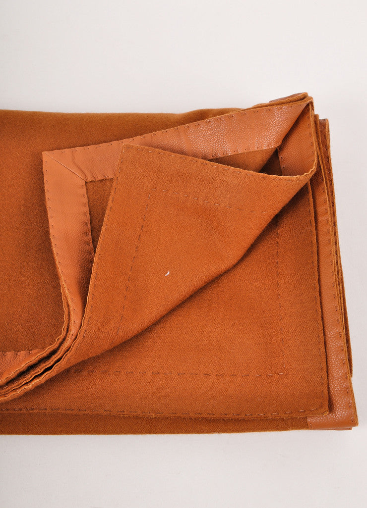 Brown Cashmere and Wool Blend Leather Trim Oversized Shawl