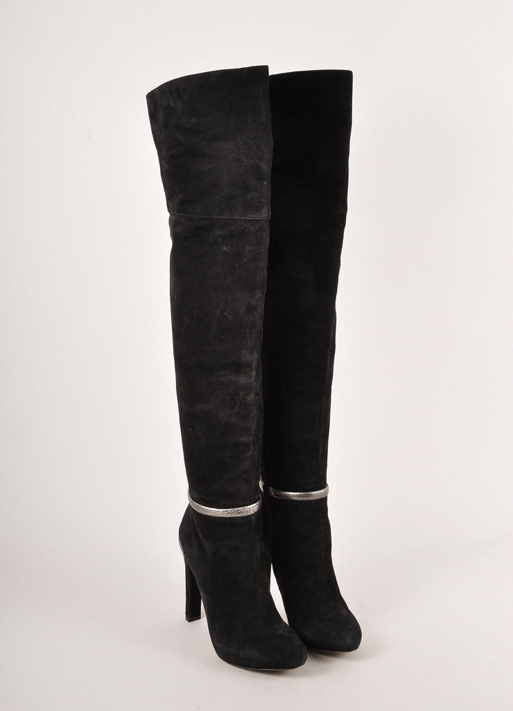 Black and Grey Metallic Suede Leather Over The Knee Heeled Boots