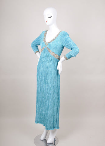 Blue Mary McFadden Pleated Beaded Trim Long Sleeve Dress