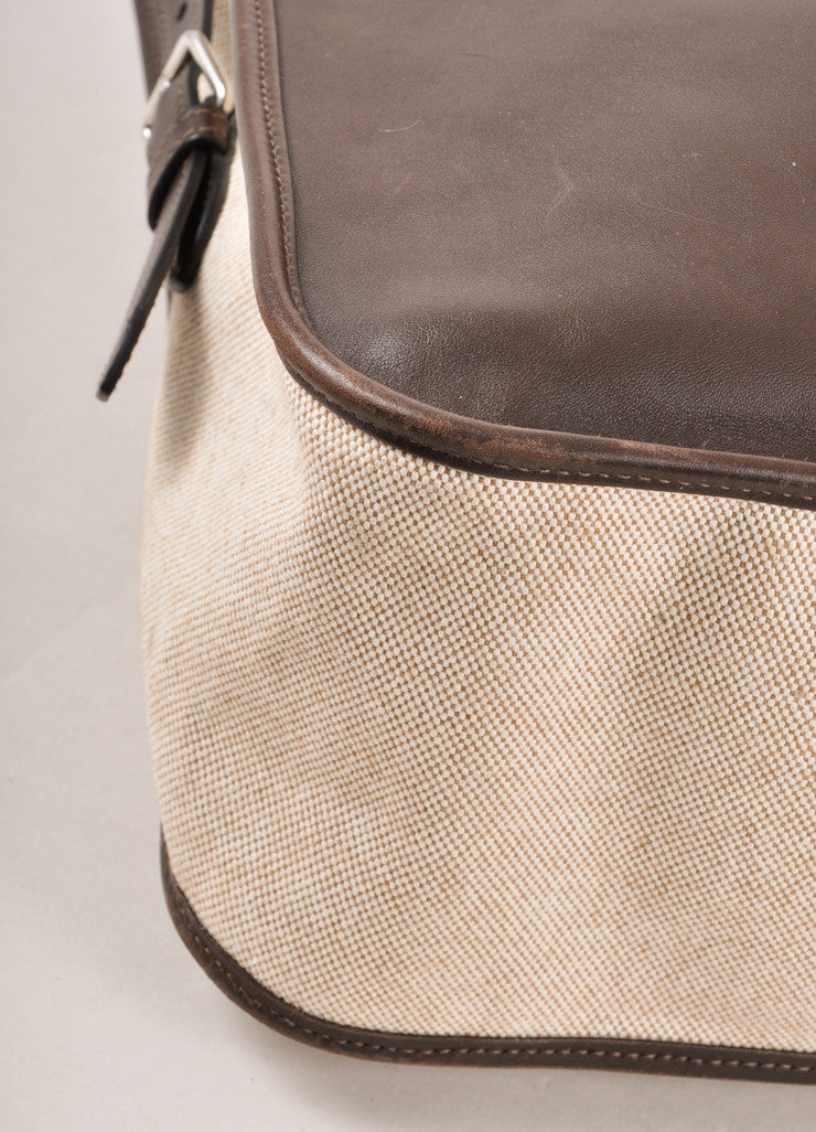 "Dark Brown and Cream Tweed Canvas and Leather ""Jumping"" Shoulder Bag"