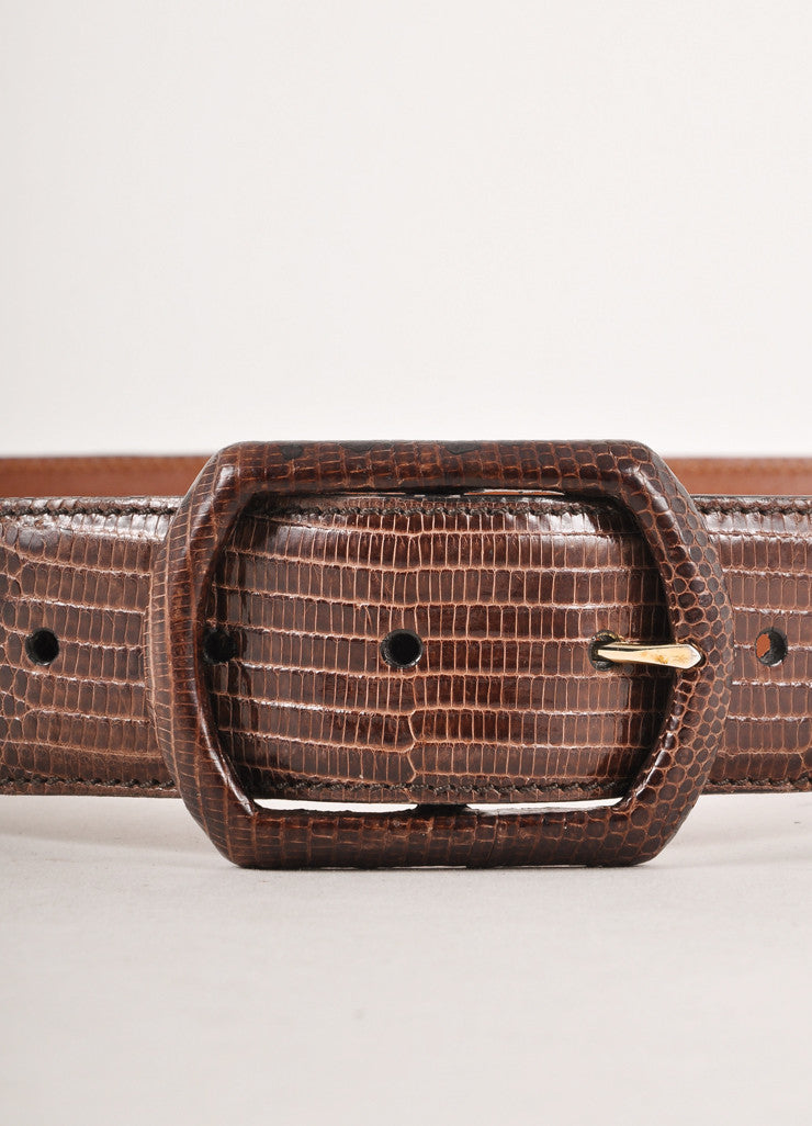 Dark Brown Lizard Skin Leather Belt