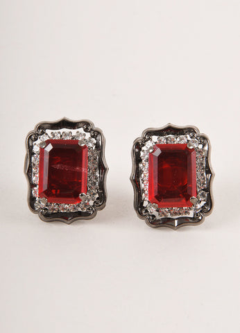 Lawrence Vrba Gunmetal Grey and Red Crystal Gem Embellished Earrings Frontview