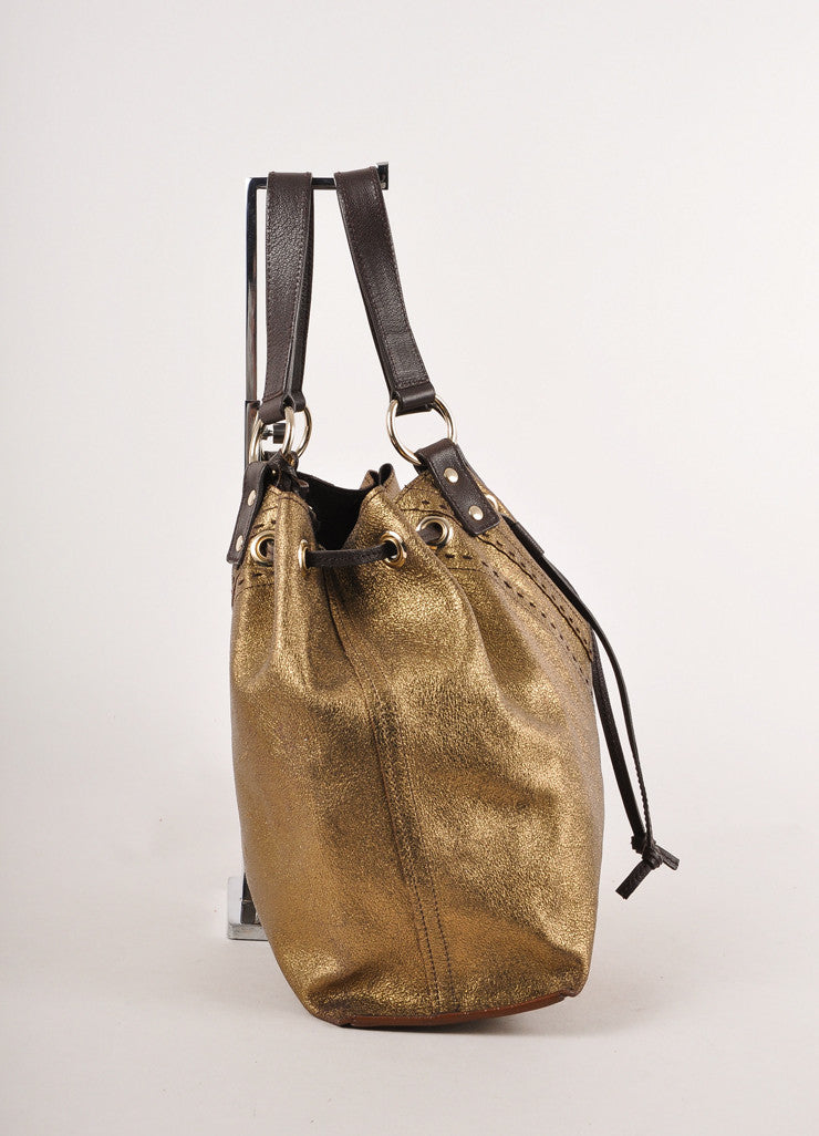 "Brown and Gold Metallic Leather Double Sac ""Y"" Tote Bag"