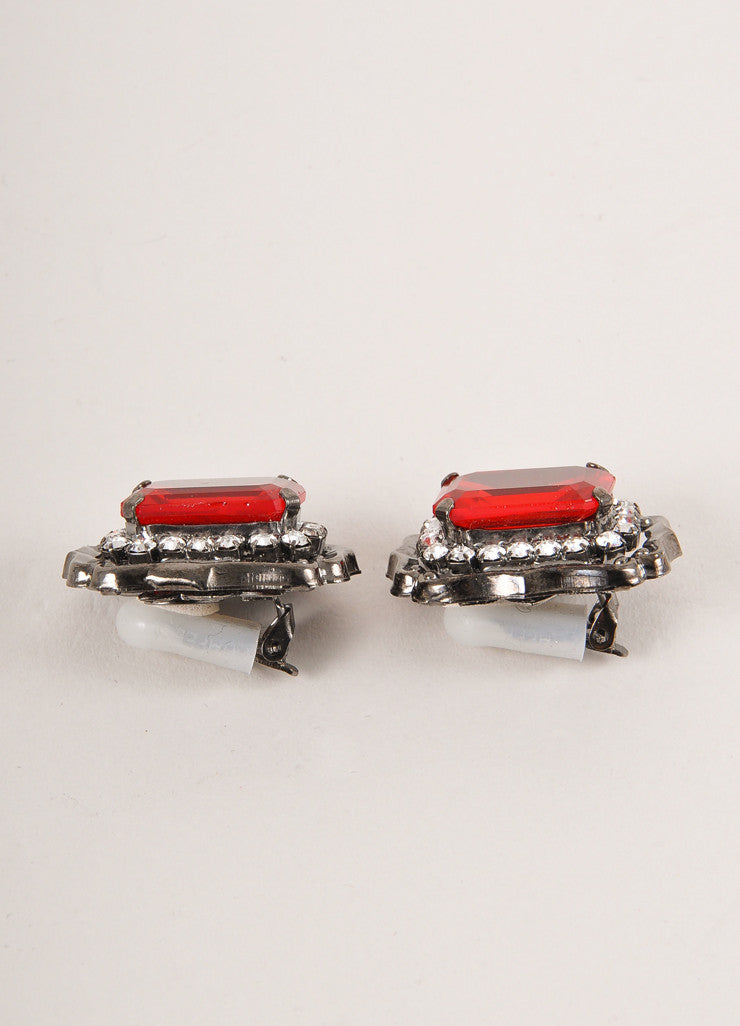 Lawrence Vrba Gunmetal Grey and Red Crystal Gem Embellished Earrings Sideview