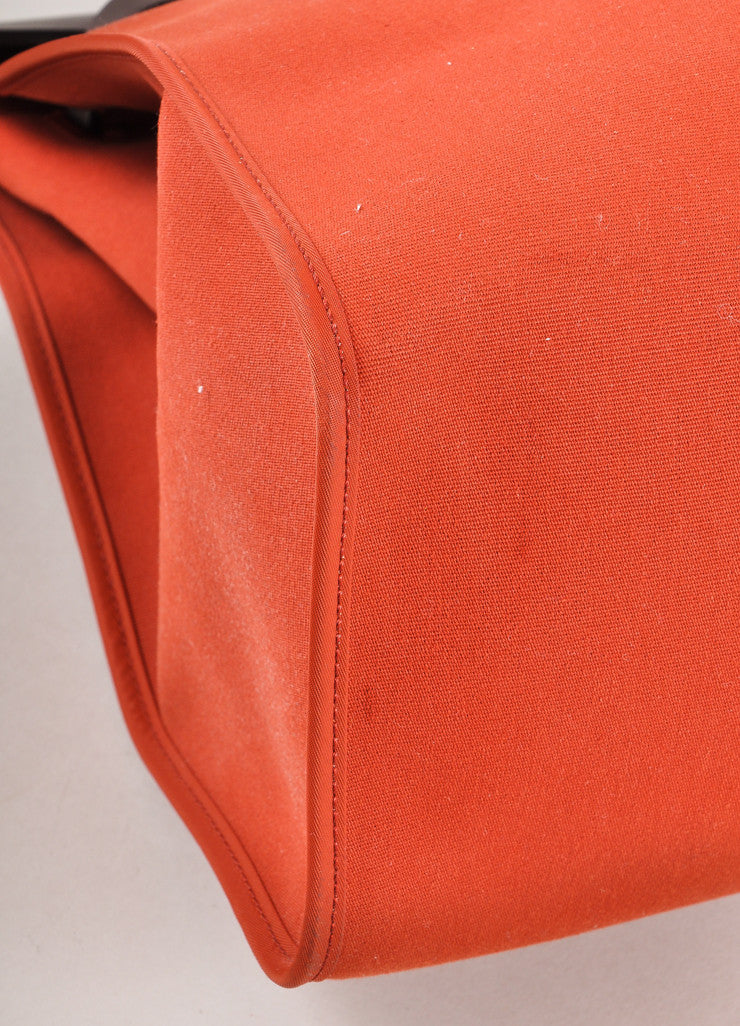 "Dark Orange and Brown Canvas Toile and Leather ""Her"" Tote Bag"