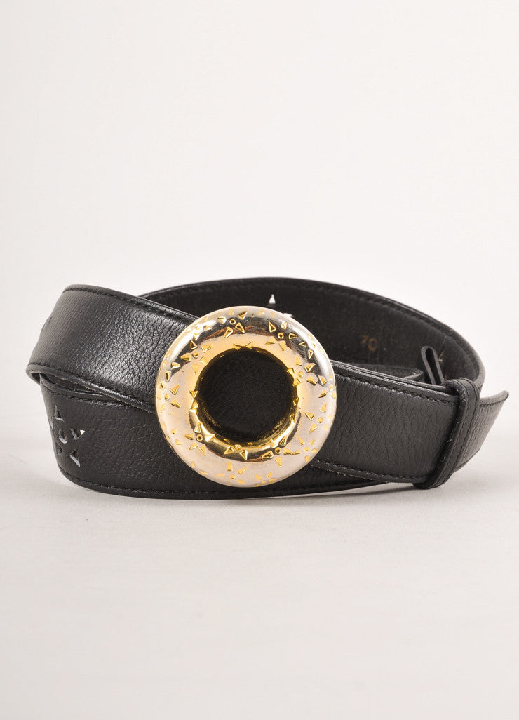 Black Celine Leather Star Cut Out Belt With Gold Toned Circle Buckle