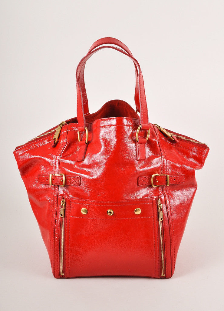 "Yves Saint Laurent Red Patent Leather ""Downtown"" Tote Bag Frontview"
