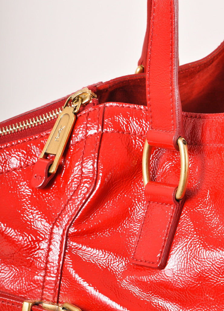 "Yves Saint Laurent Red Patent Leather ""Downtown"" Tote Bag Detail 2"