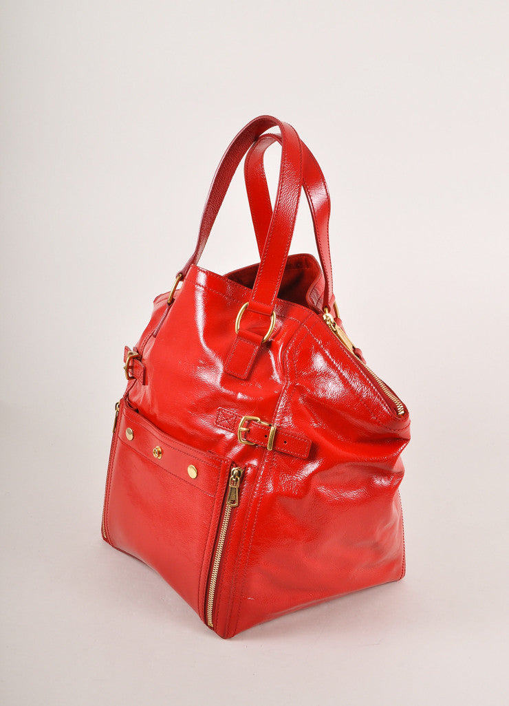 "Yves Saint Laurent Red Patent Leather ""Downtown"" Tote Bag Sideview"