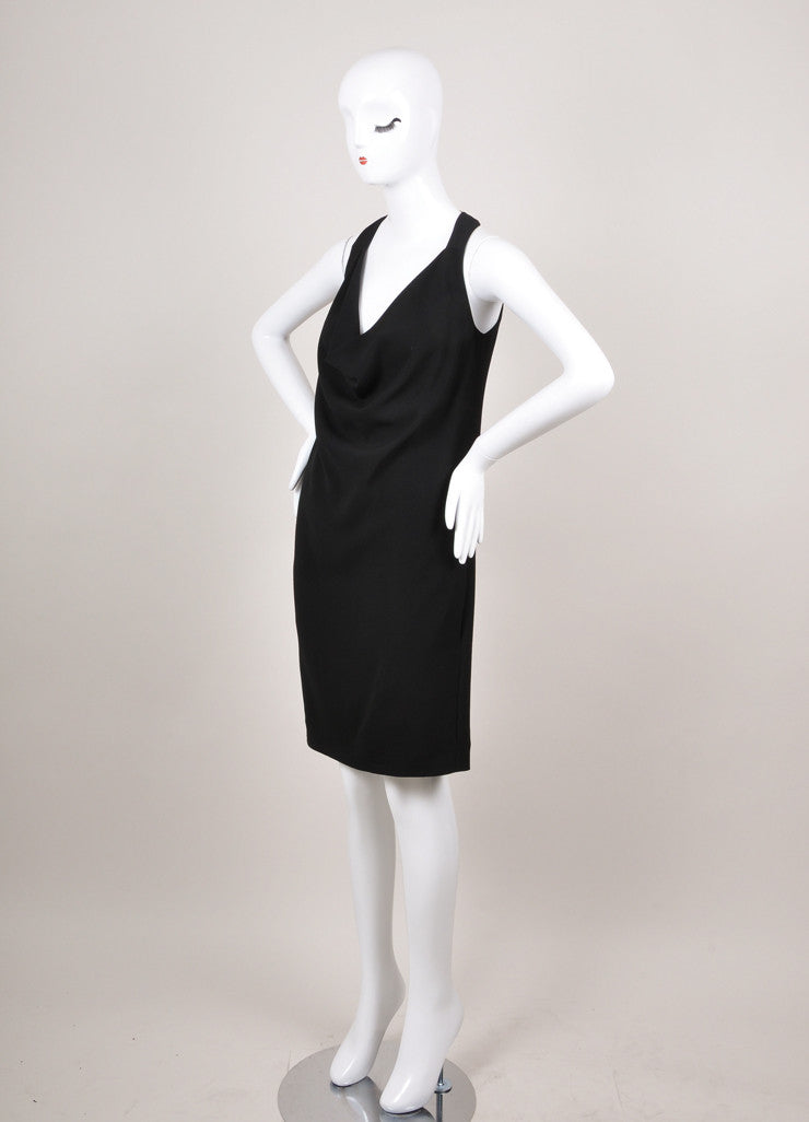Celine Black Draped Halter Dress
