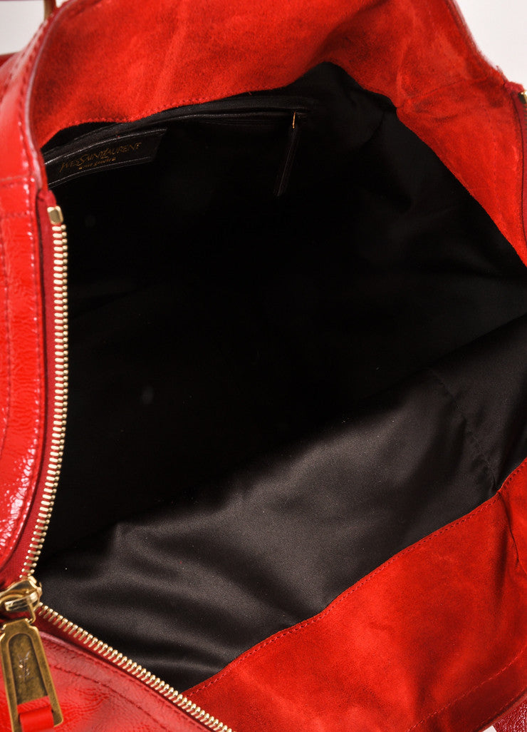 "Yves Saint Laurent Red Patent Leather ""Downtown"" Tote Bag Interior"