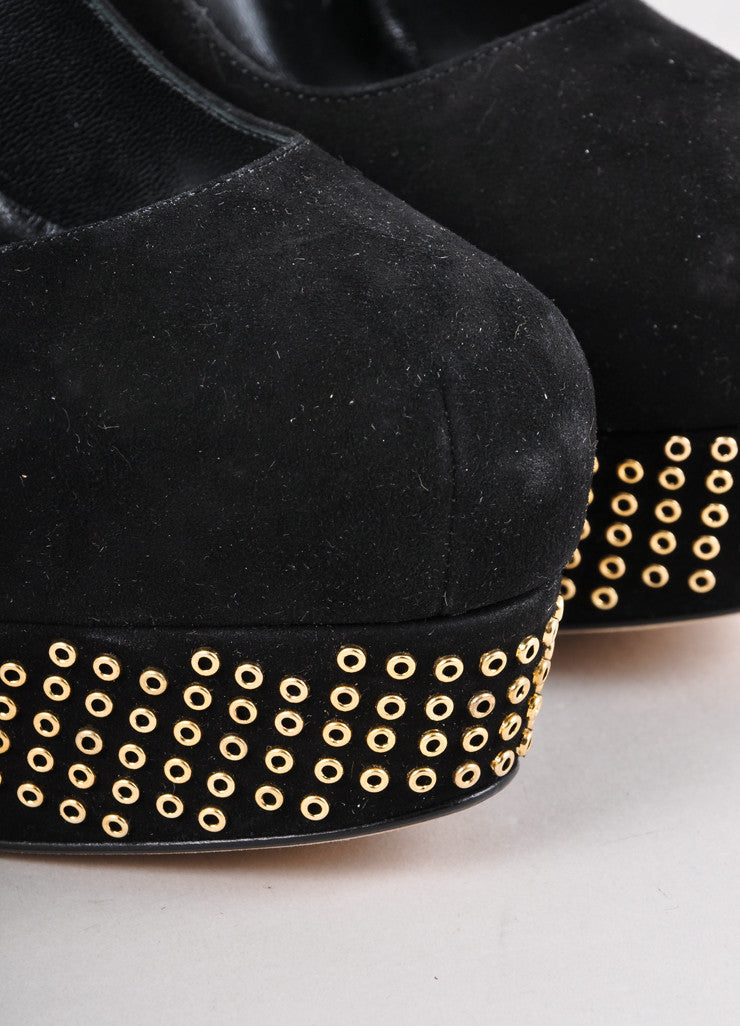 New Black and Gold Suede Grommet Studded Pumps