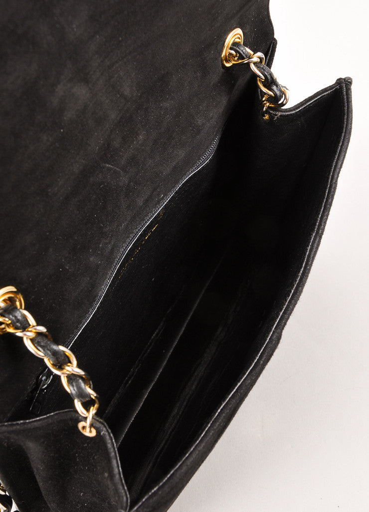"Black and Silver Quilted Suede ""CC"" Chain Strap Shoulder Bag"