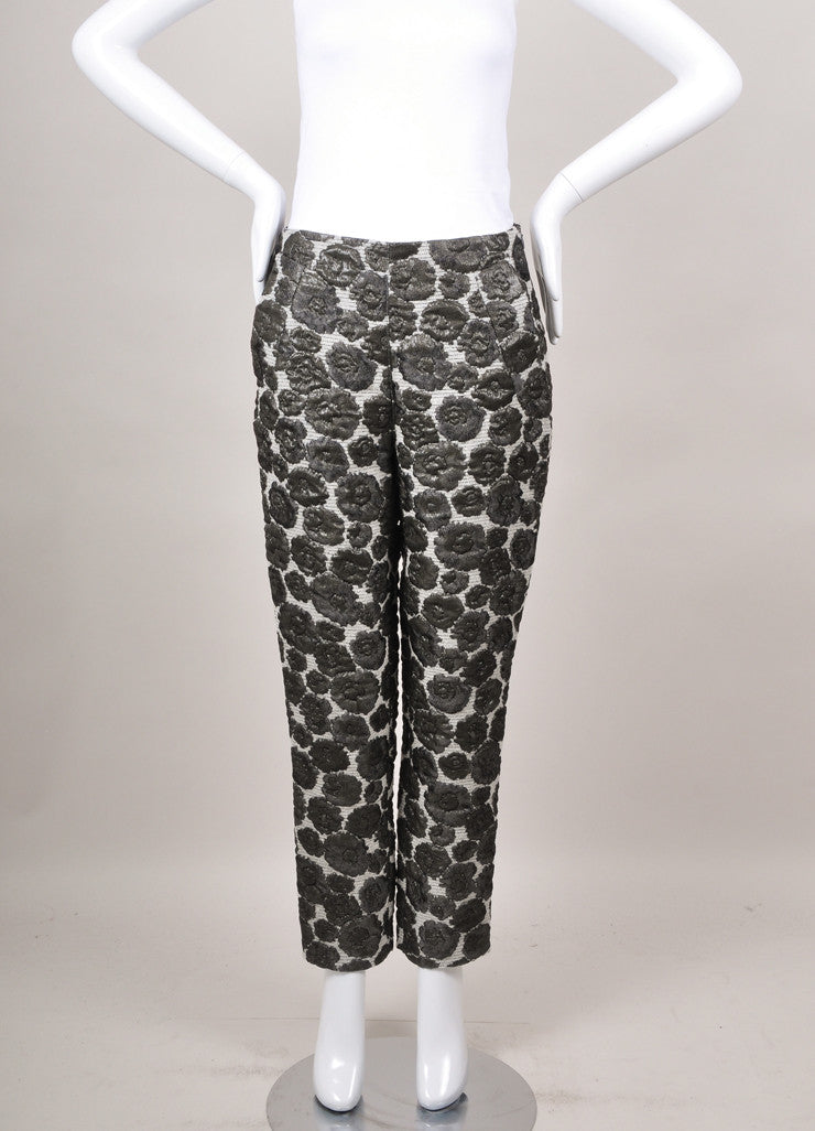 New With Tags Grey Metallic Floral Embroidered Tapered Crop Pants