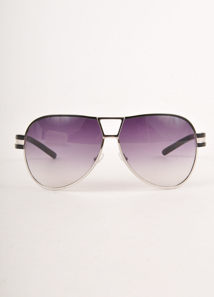 "Black and Silver Toned Classic ""MJ 129/S"" Aviator Sunglasses"