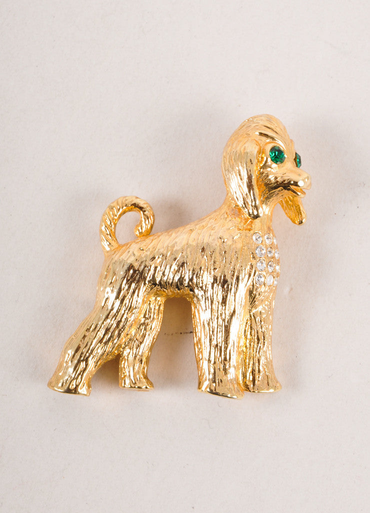Vintage Gold Toned Rhinestone Detail Dog Pin