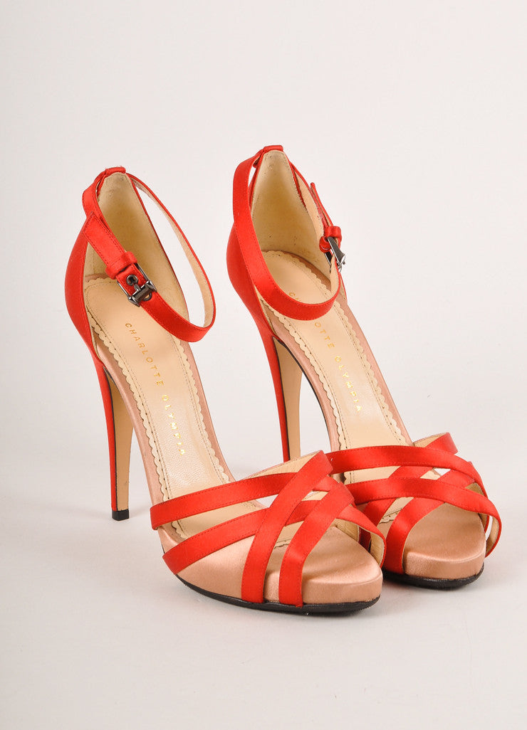 Charlotte Olympia Red and Blush Satin Ankle Strap Sandals Frontview