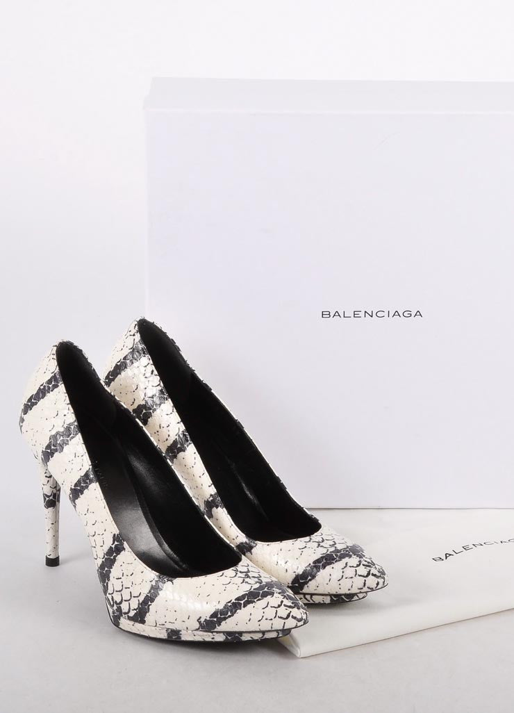"New In Box Black and White Leather ""Bal Manhattan Tigre Pump"""