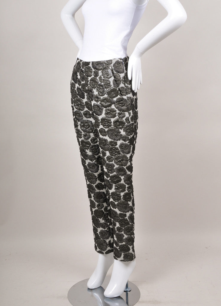 Grey Chris Benz Metallic Floral Embroidered Tapered Crop Pants
