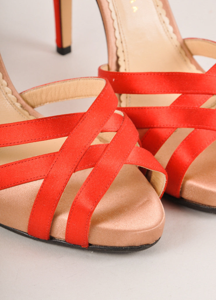 Charlotte Olympia Red and Blush Satin Ankle Strap Sandals Detail