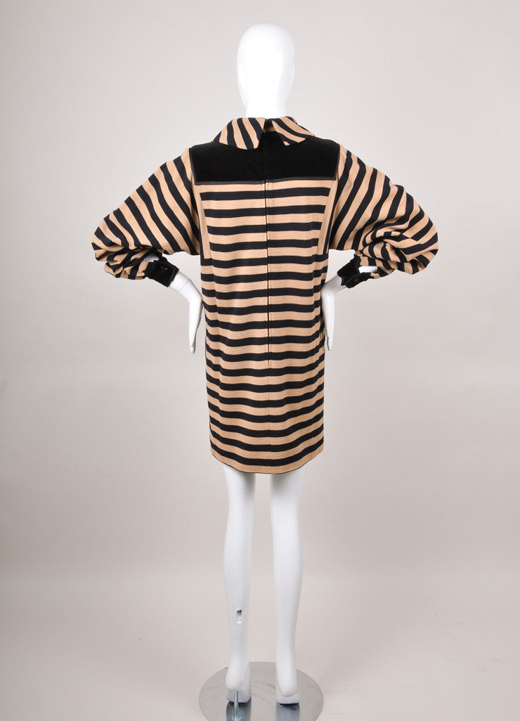 Navy and Tan Wool Striped Long Sleeve Dress