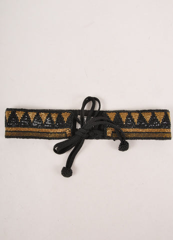 Black and Bronze Beaded Tie Belt