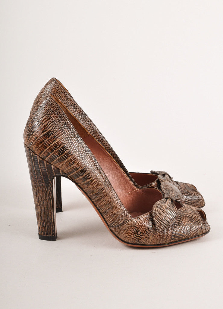 Brown Alaia Lizard Leather Peep Toe Bow Pumps