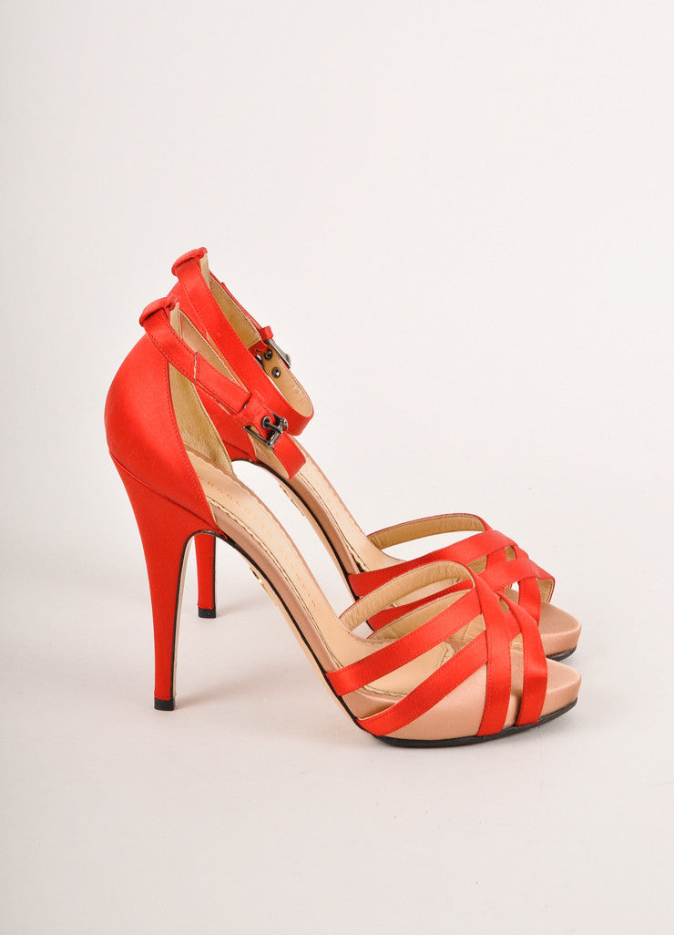 Charlotte Olympia Red and Blush Satin Ankle Strap Sandals Sideview