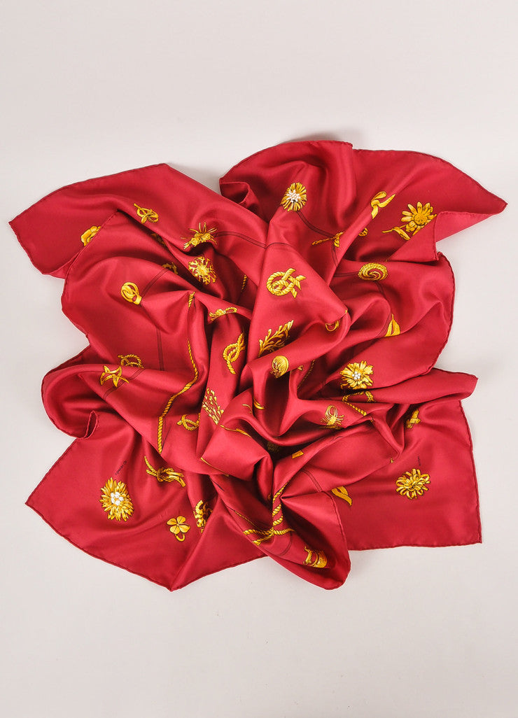 "Maroon and Gold ""Clips"" Print Silk Scarf"