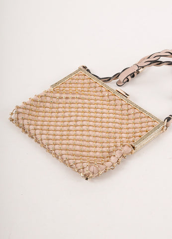 Gold Toned and Grey Embellished Metal Mesh Evening Crossbody Bag