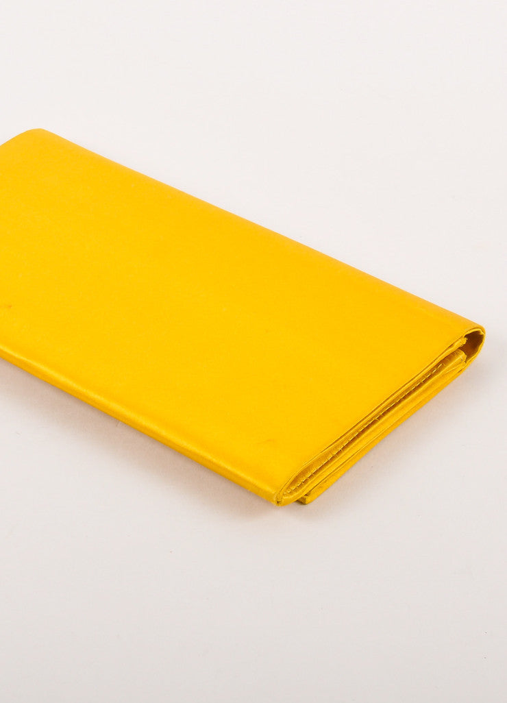 Gold Yellow Flat Flap Satin Clutch Bag