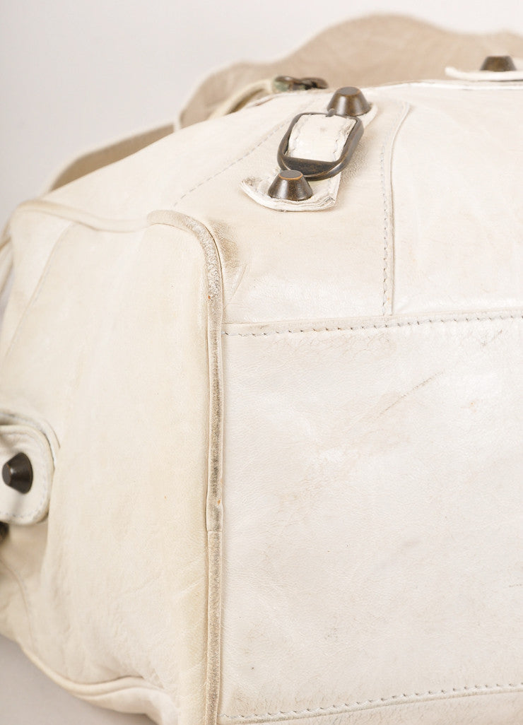 "Cream Small Leather ""City"" Bag with Brass Toned Hardware"