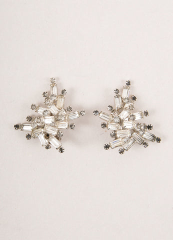 Clear and Grey Baguette Rhinestone Starburst Cluster Earrings