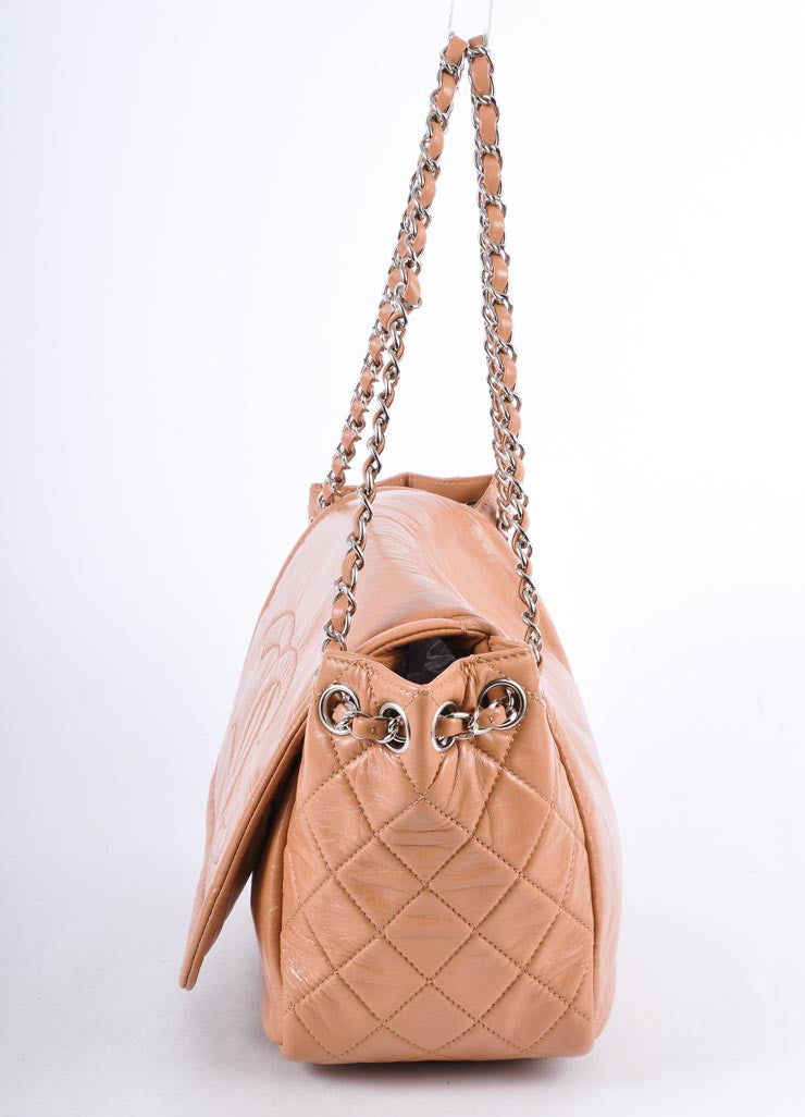 "Dark Beige Lambskin Quilted Flap ""CC"" Chain Shoulder Bag"