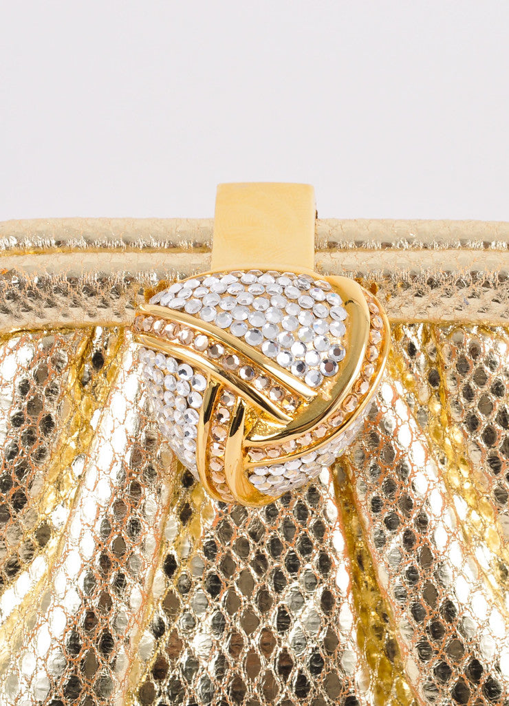 Gold Snake Embossed Leather Embellished Evening Bag