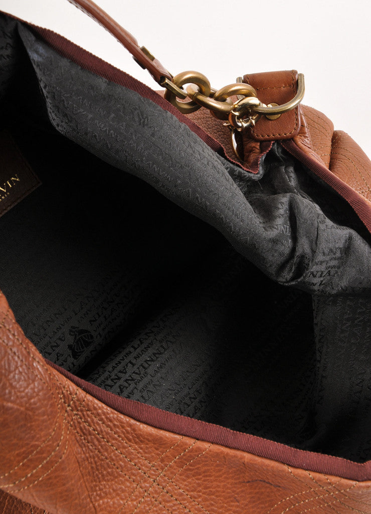 Brown Seamed Leather Chain Strap Hobo Bag
